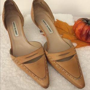 Manolo Blahnik natural leather d'Orsay kitten heel